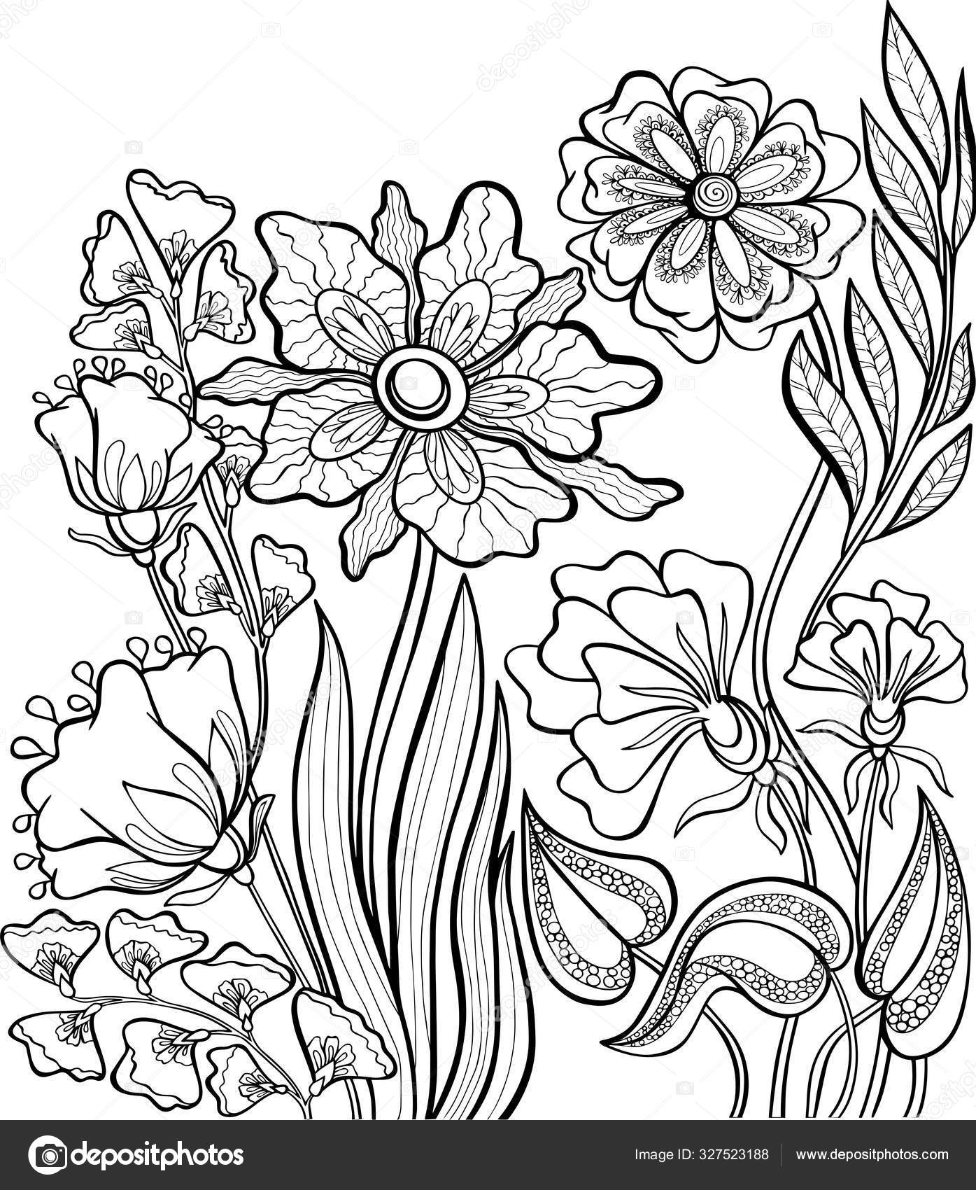 - Book Coloring Book Flowers Vector Antistress Page Outline