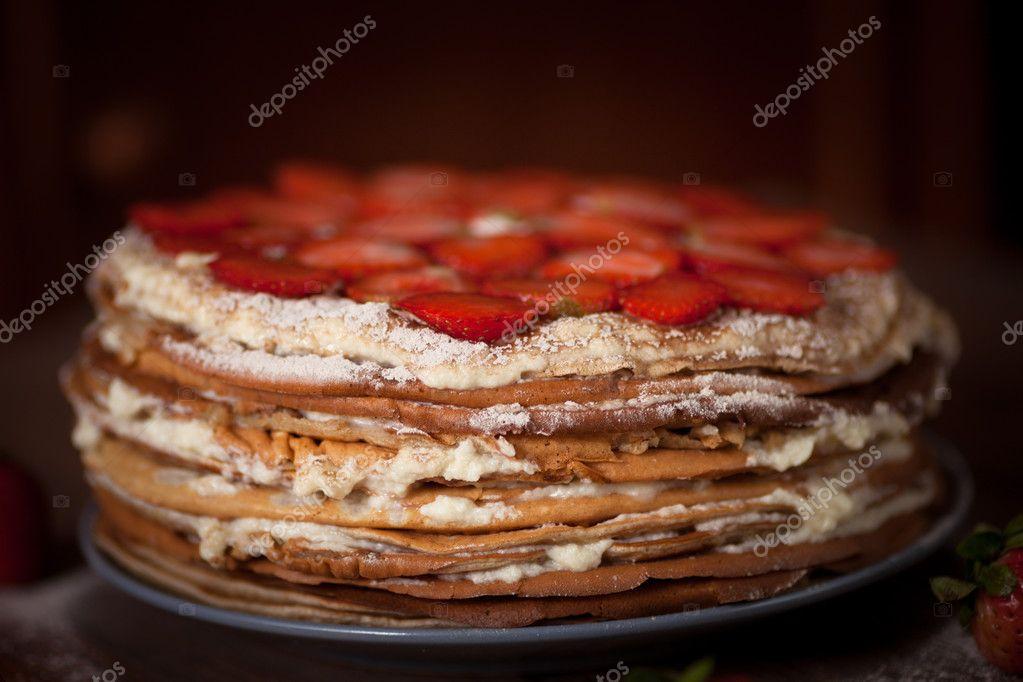 Kuchen Pfannkuchen Ansicht Von Oben Dunkel Braun Aus Holz