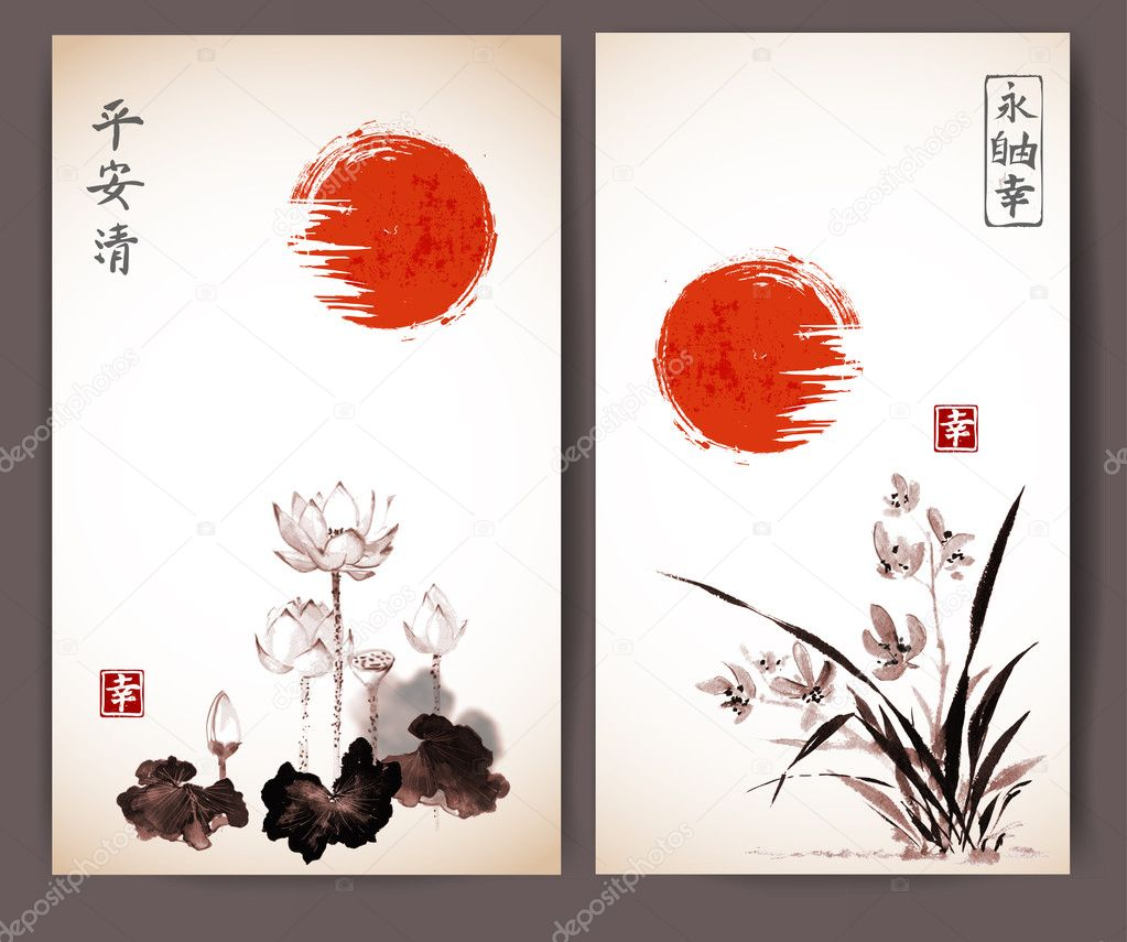 zestaw japońskich kart z pozdrowieniami — grafika