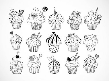 Seamless texture with cupcakes