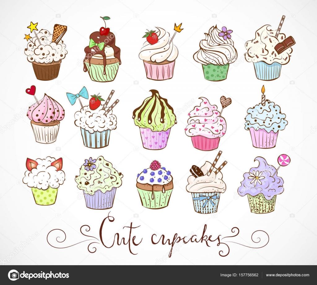 かわいいカップケーキのスケッチ ストックベクター Elinacious
