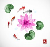 Photo Little red and black fish and pink lotus flower