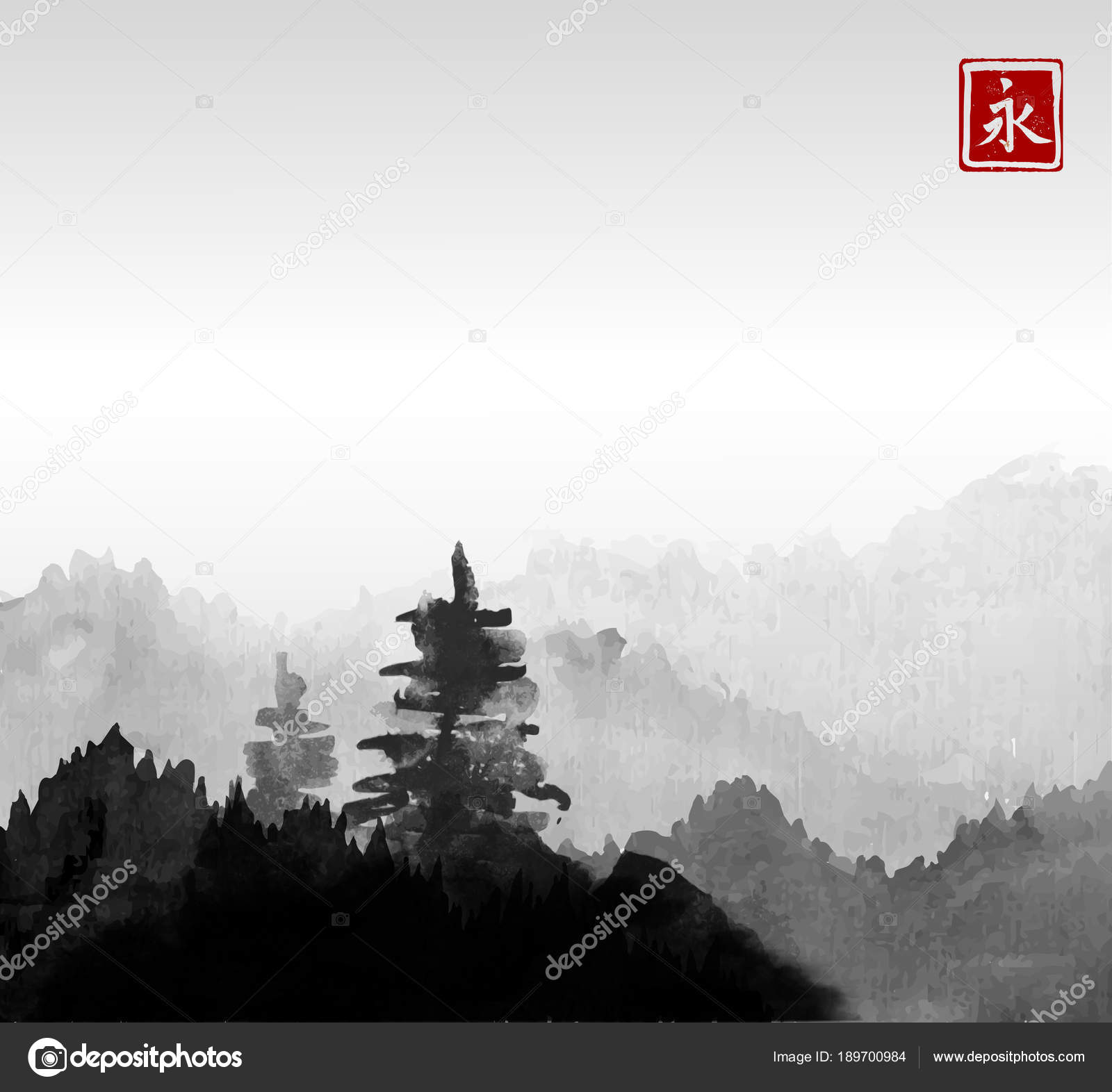 Stylized Black Ink Wash Painting Pine Trees Green Hill Mist Vector Image By C Elinacious Vector Stock 189700984