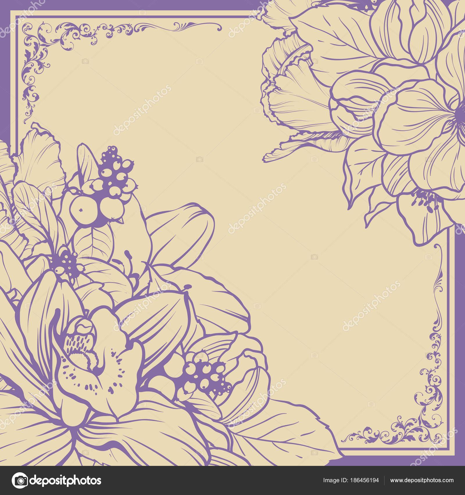 Diseño de marco ornamental Vintage fondo floral. Ilustración de ...