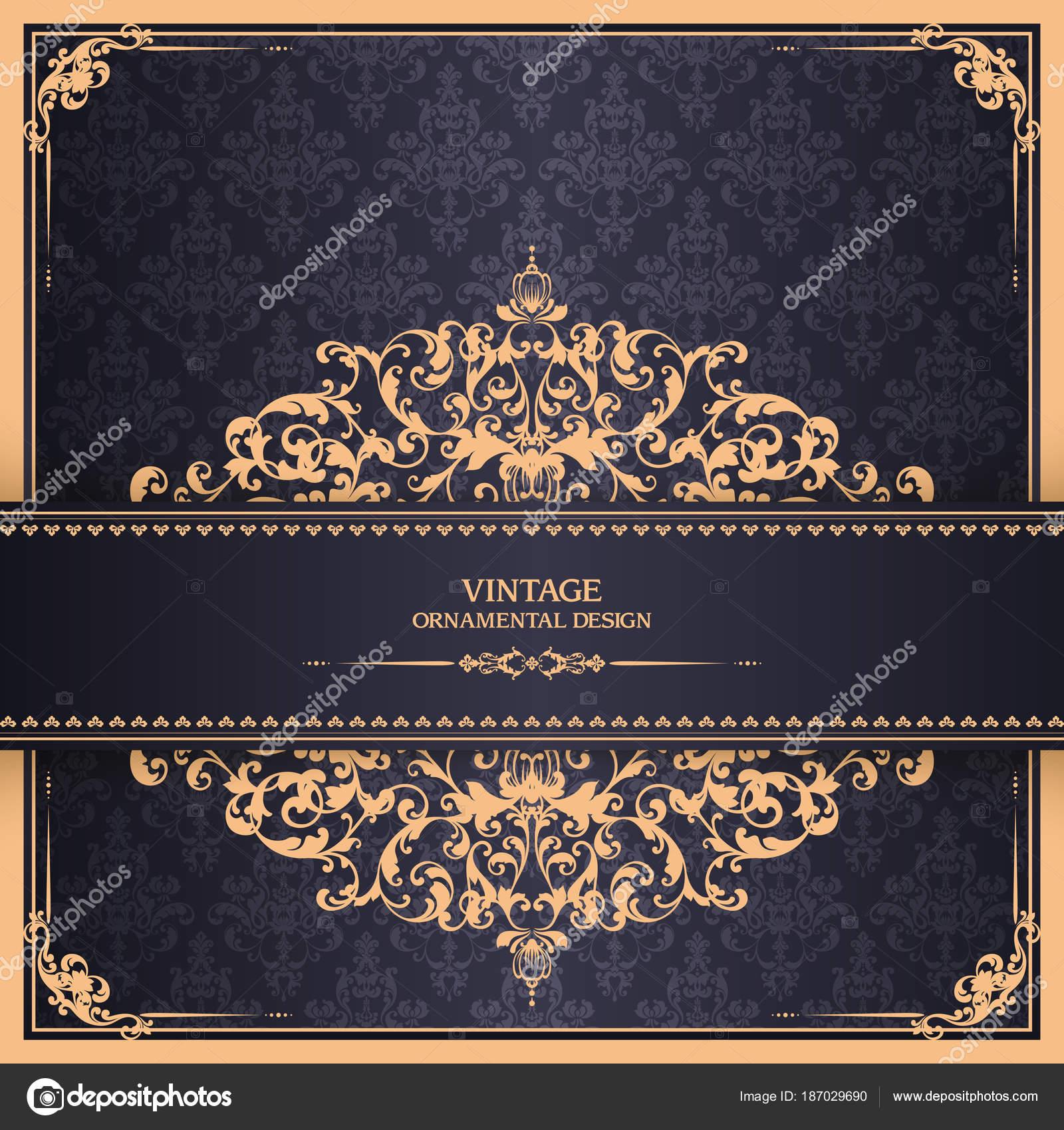 Printvintage Vorlage mit Muster und reich verzierten Rahmen ...