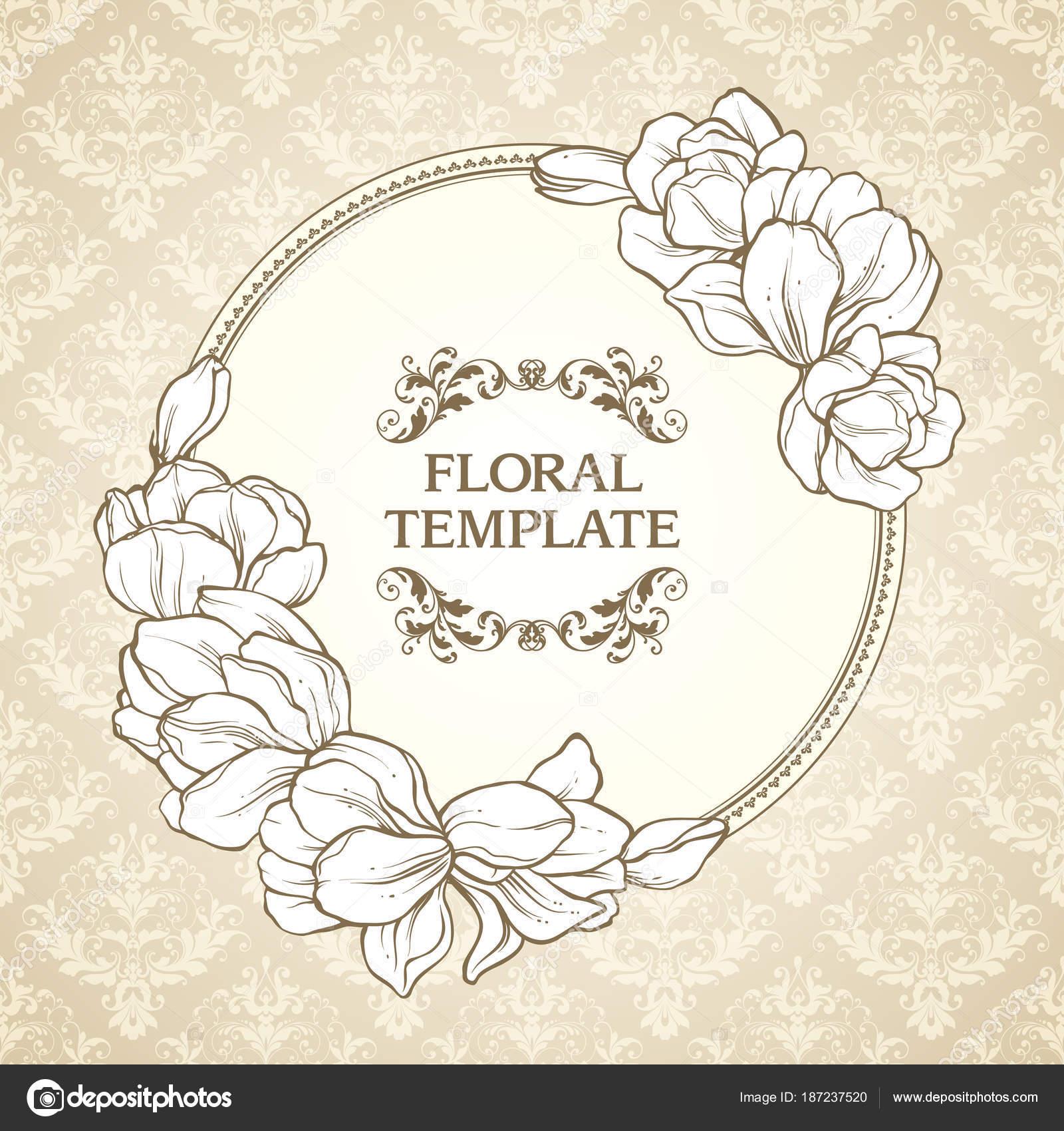 Vintage floral Runde Rahmen und gemusterten Hintergrund. Elegante ...