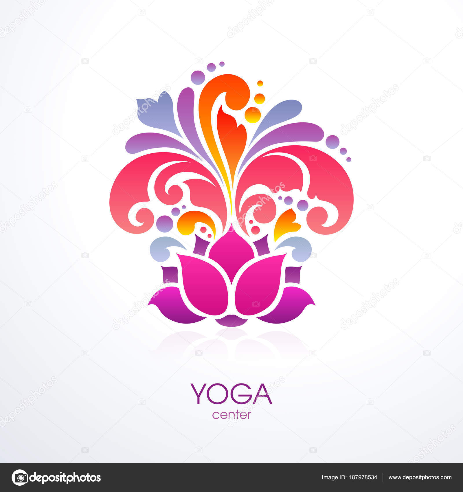 Abstract Colorful Ornate Splash Yoga Background Decorative Lotus