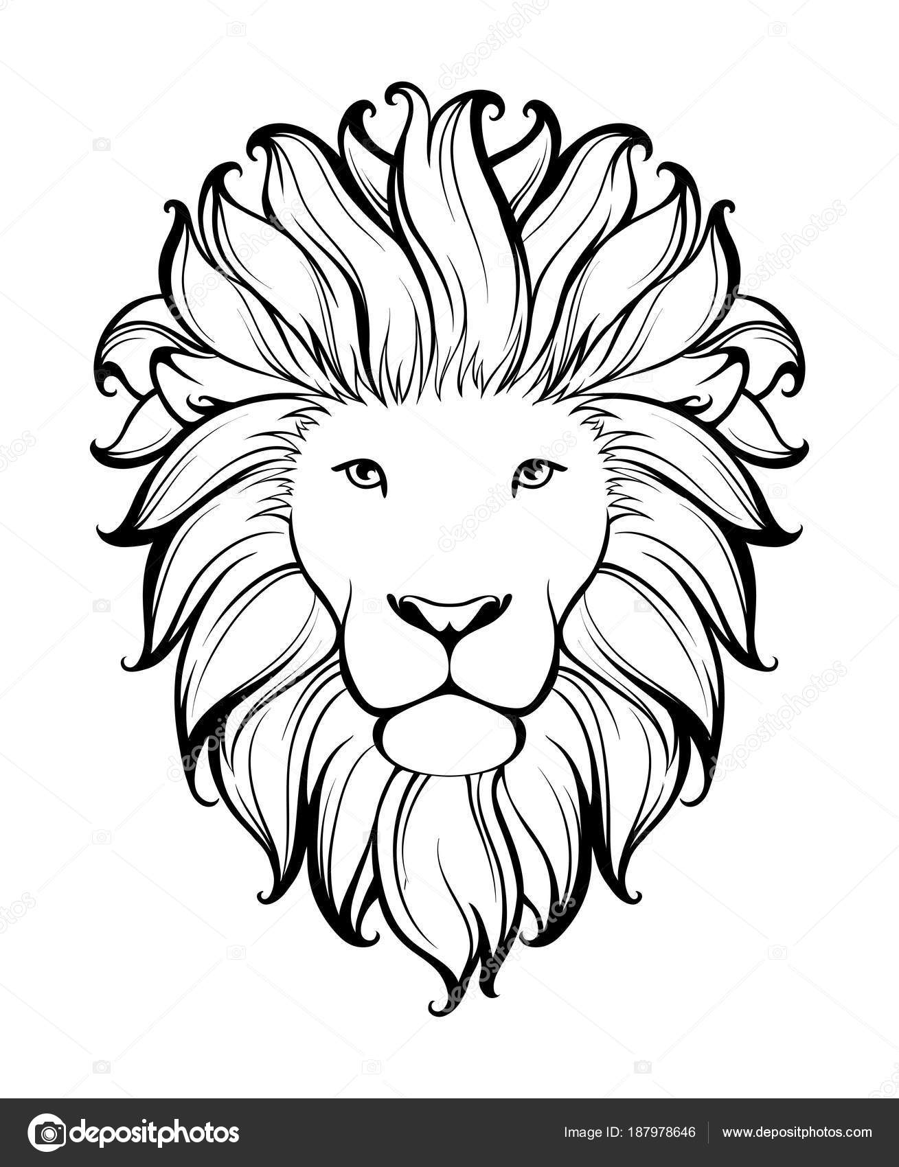 Black And White Lion Tattoo Linear Stylized Lion Black And