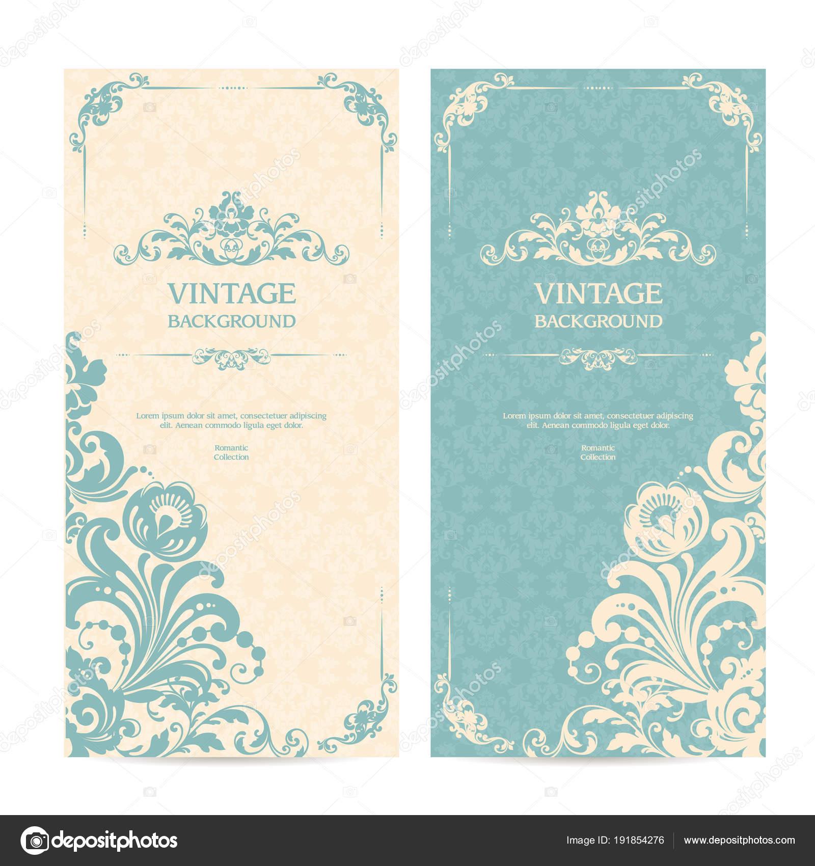 Vintage template set with ornamental frames and patterned background ...