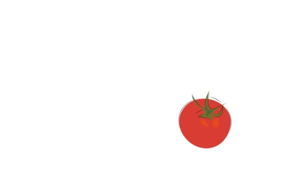 Animovaný zelenina a ovoce. Rajče, mrkev a brokolice