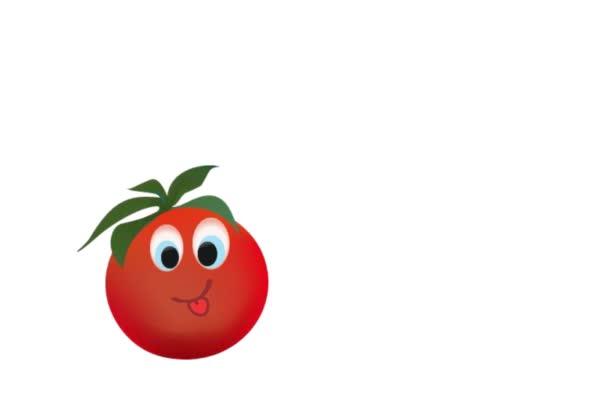 Animovaný zelenina a ovoce. Rajče, paprika a cibule