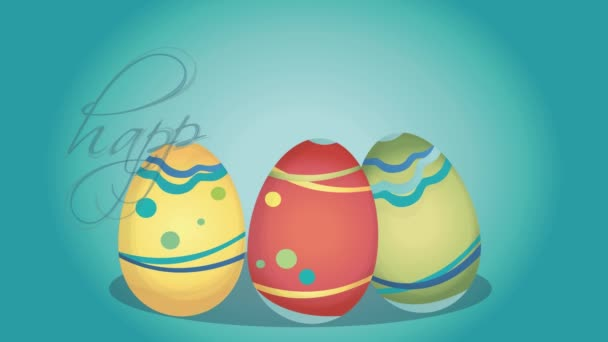 Animated Happy Easter Holiday Card with Colorful  Eggs