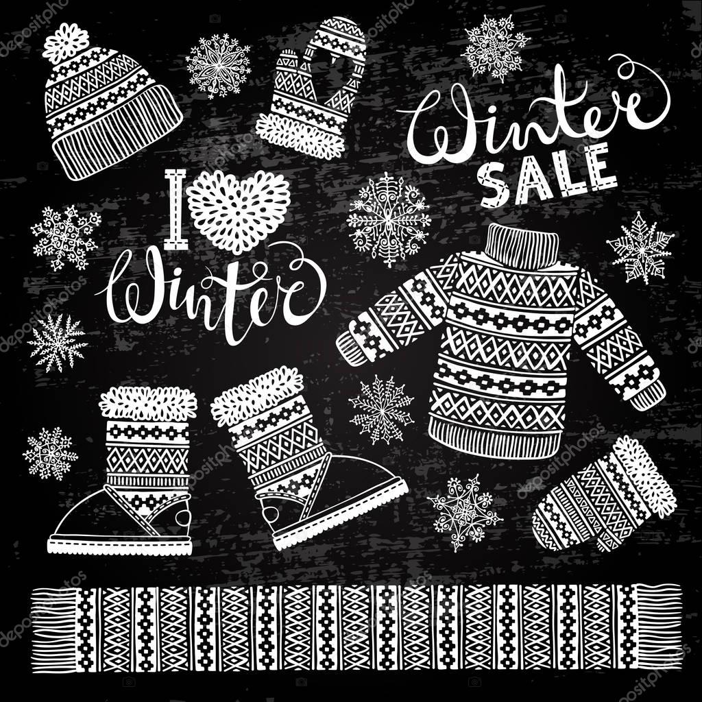 Set drawings knitted woolen clothing and footwear. Sweater, hat ...