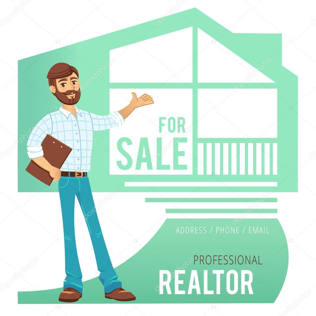 The concept of real estate services agent showing a house depositphotos130257838 stock illustration the concept of real estateg reheart Image collections