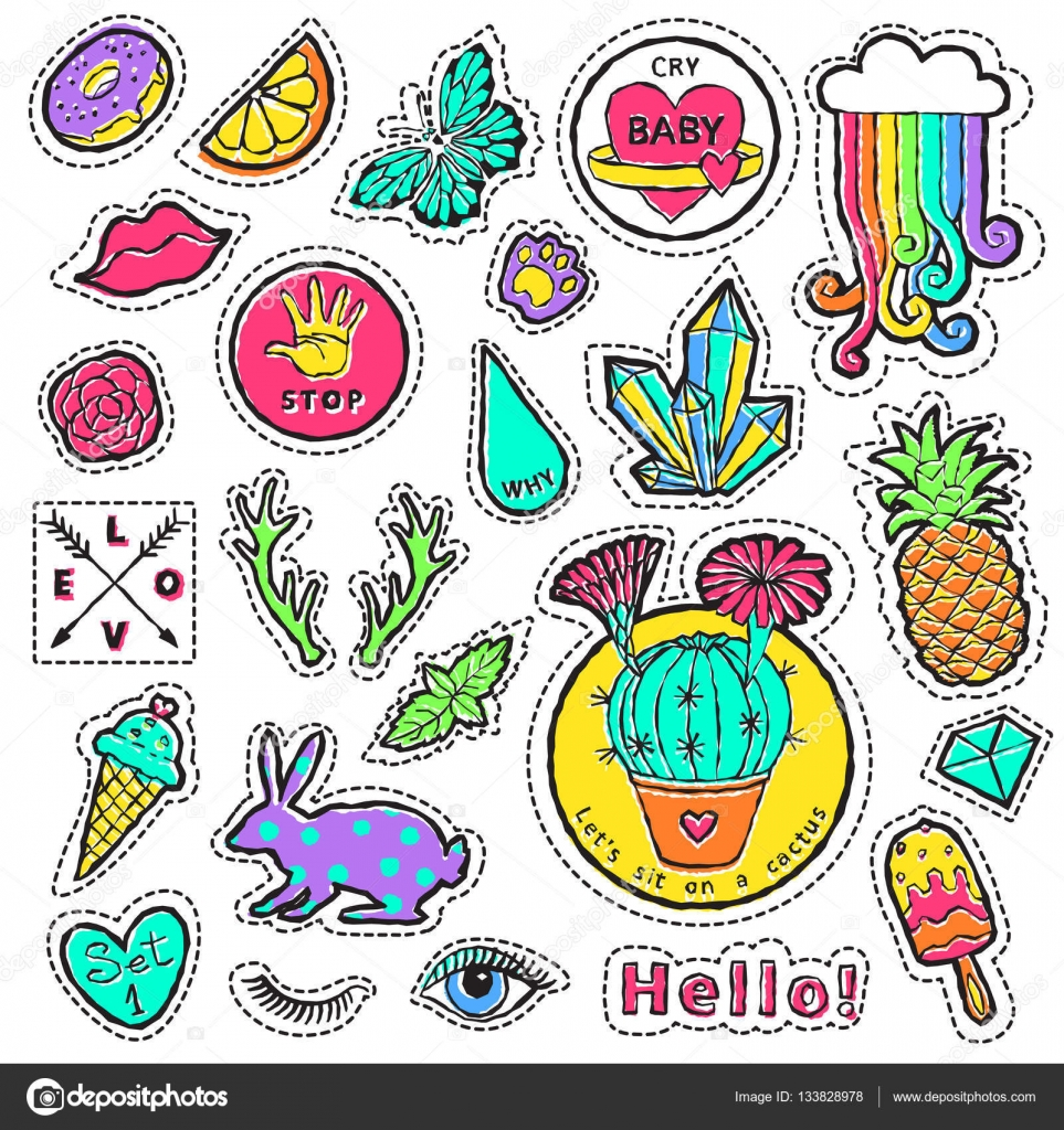 Remendo De Moda Distintivo Elementos Nos Desenhos Animados