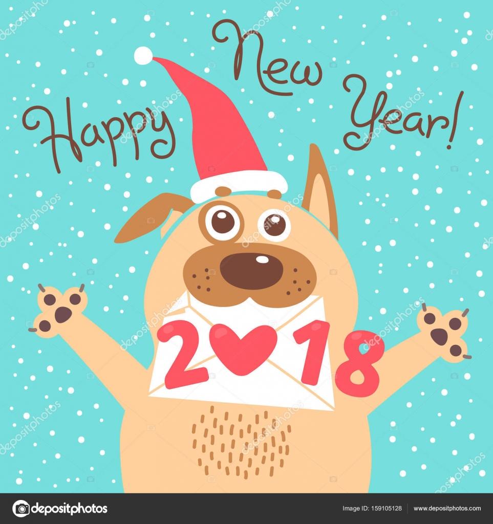 gratulerar på Happy 2018 nyårskort. Roliga valp gratulerar på semester. Hund  gratulerar på
