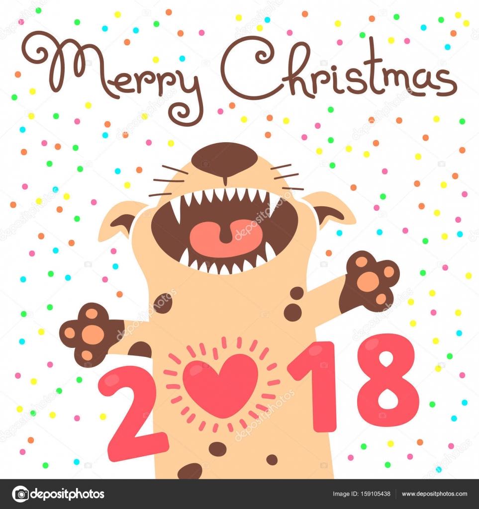 Joyeux Noel 2018 Carte Avec Le Chien Chiot Drole Felicite En