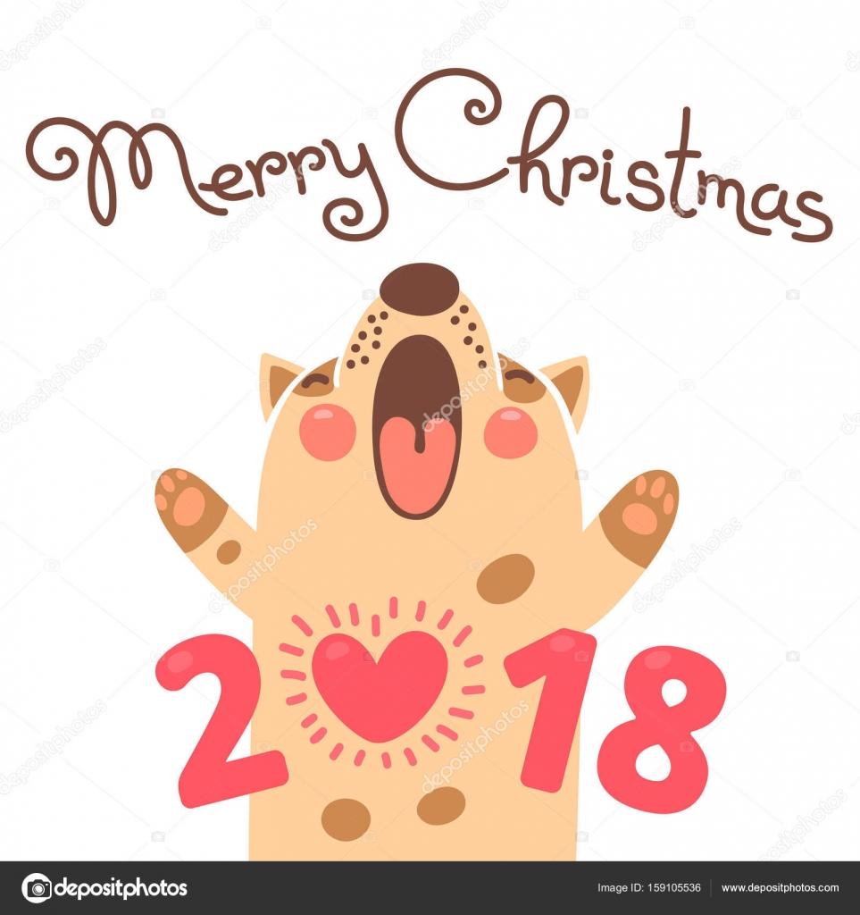 Favorit Noël 2018 carte avec le chien. Chiot drôle félicite en vacances  HZ93