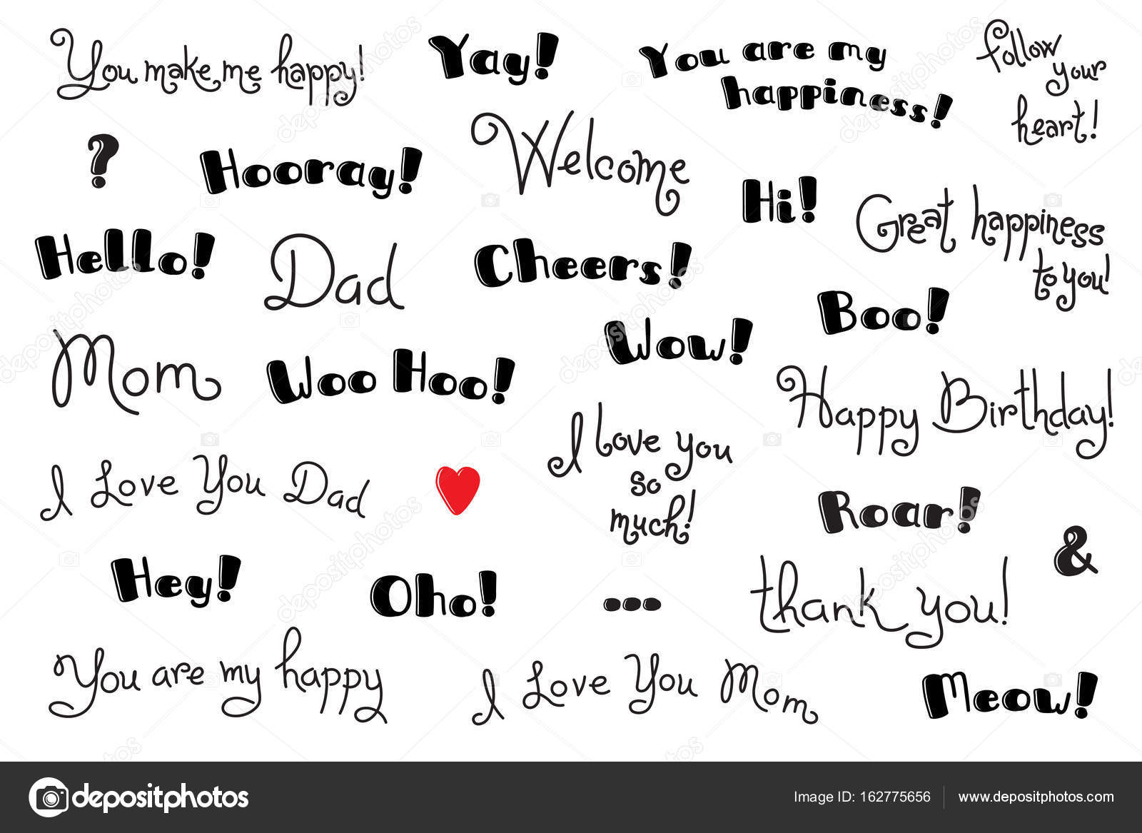 Phrases interjections and exclamation words for for cover poster phrases interjections and exclamation words for for cover poster t shirt greeting card text templates vector set vector by baksiabat m4hsunfo