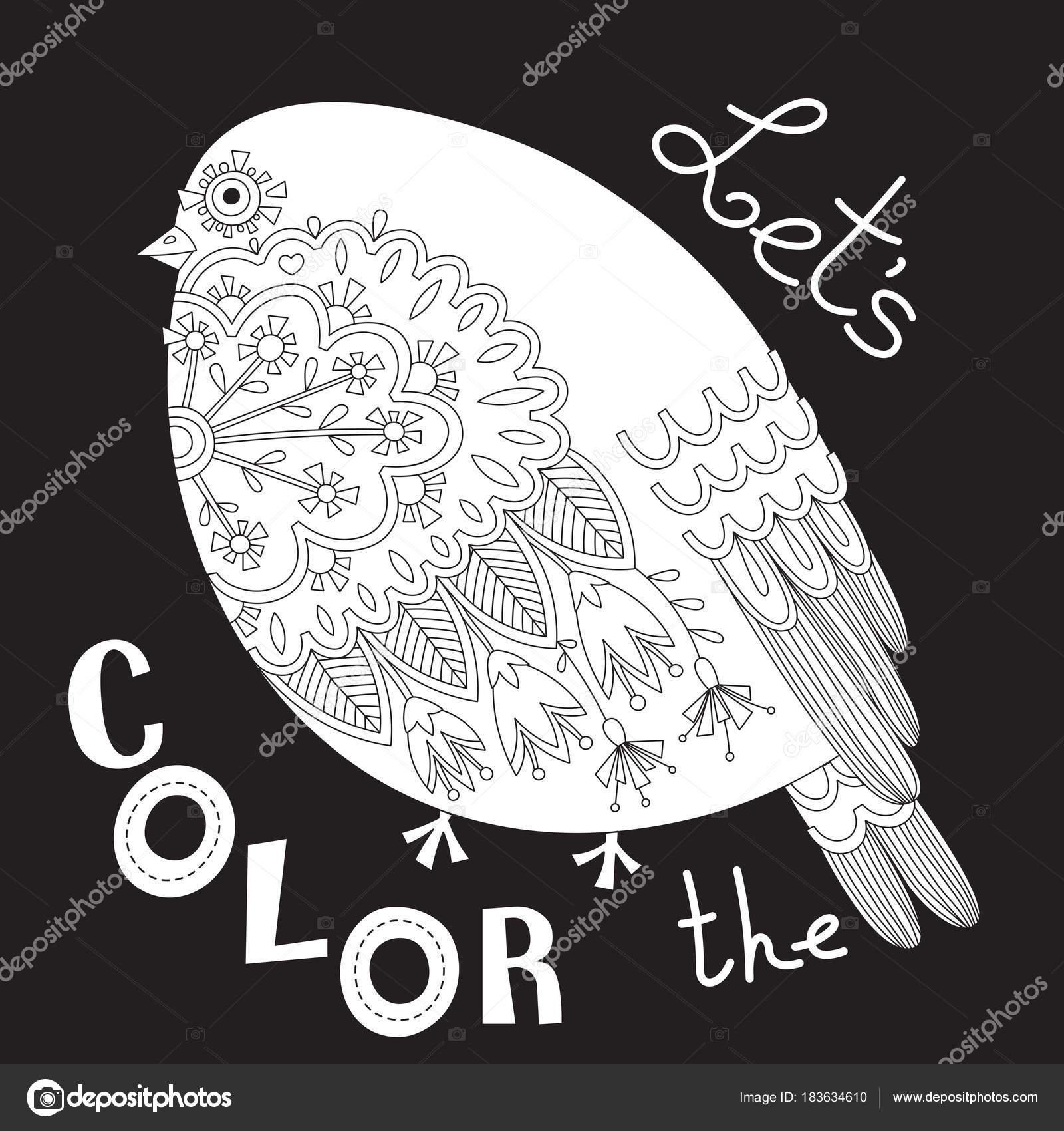 Pájaro con flores y patrones. Página de libro para colorear ...
