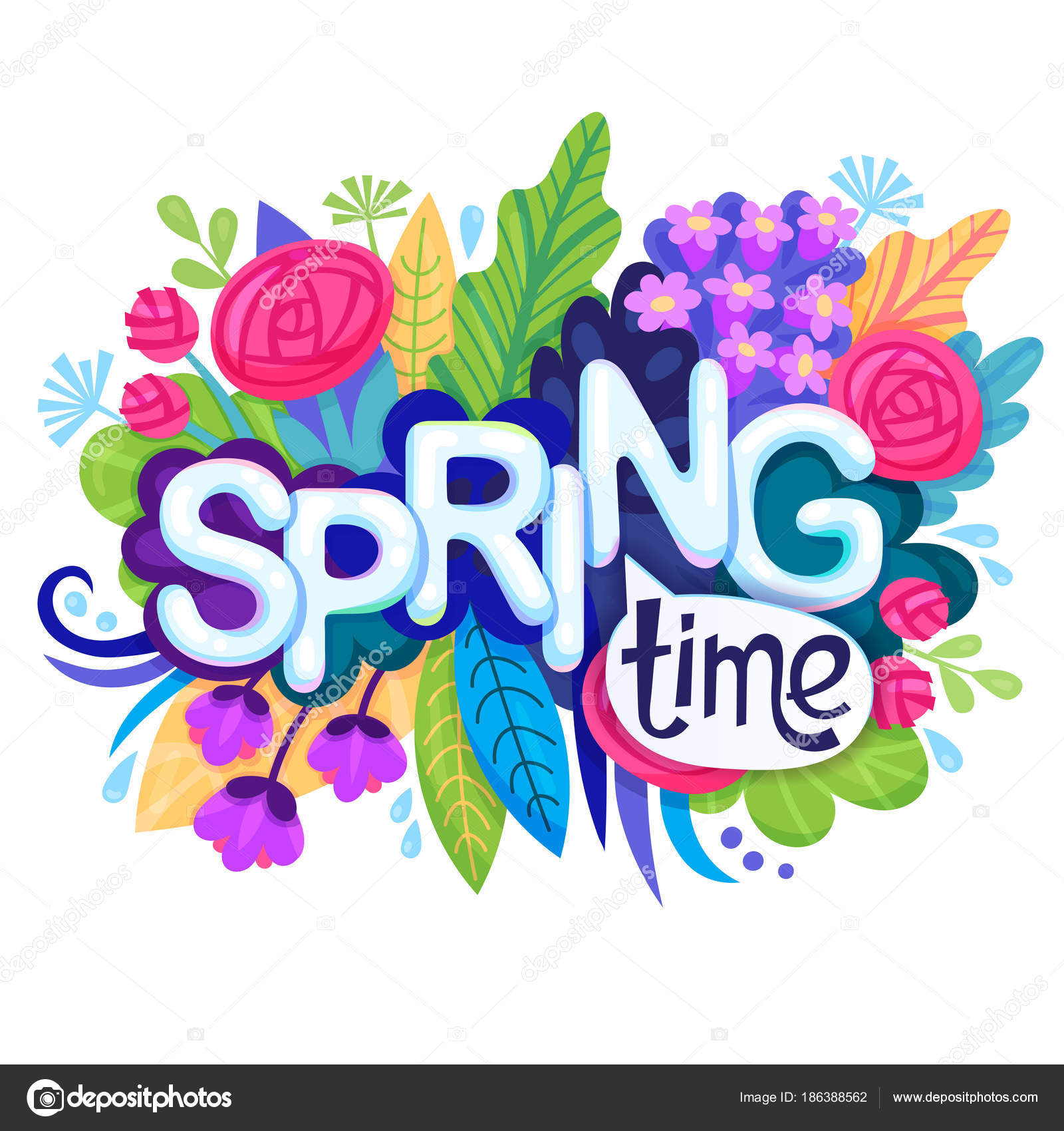 Inscription Spring Time On Background With Colorful Flowers Leaves