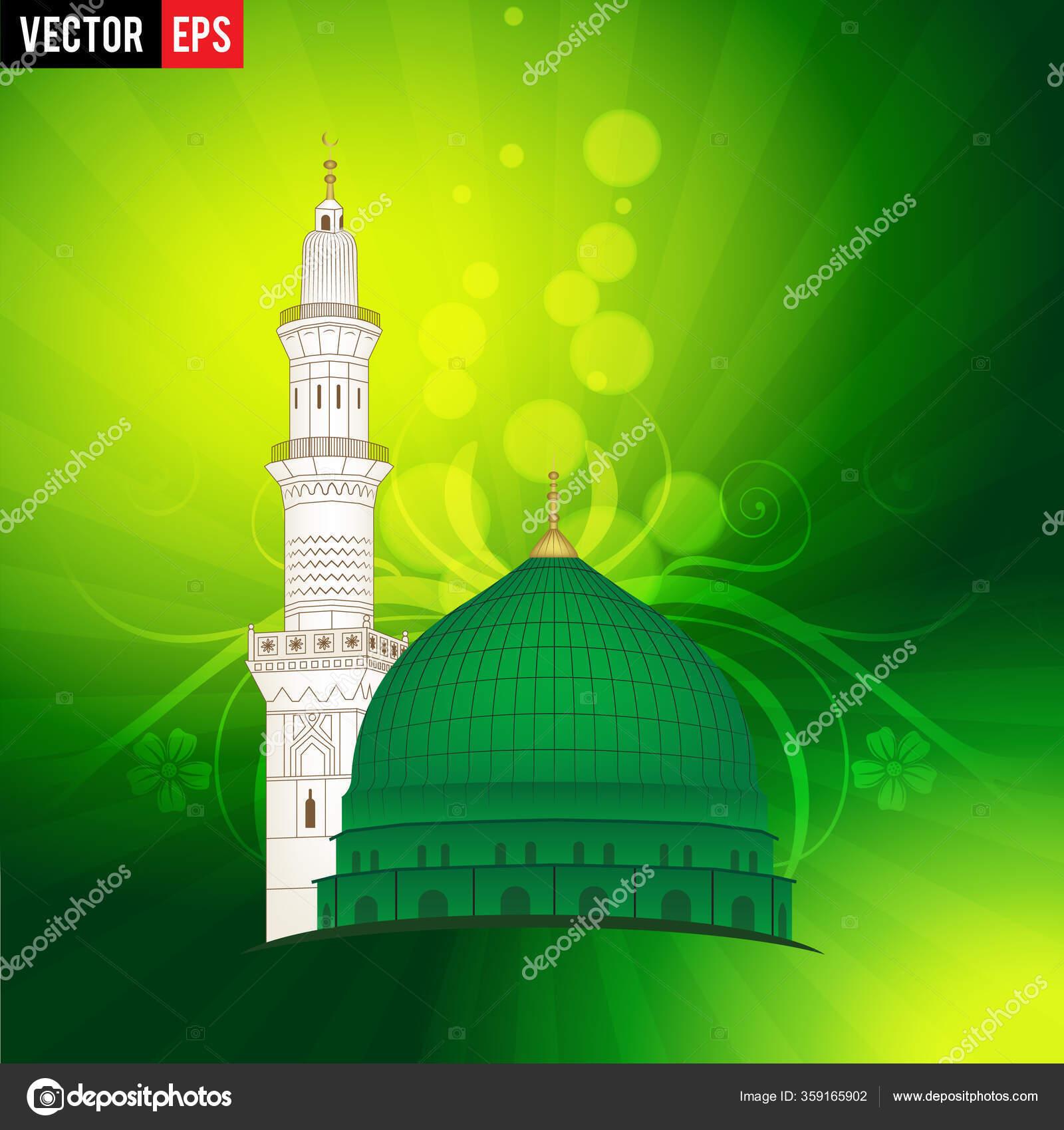 vector draw masjid nabawi madina tun nabi grey background arabic stock vector c samiishere11 359165902 depositphotos