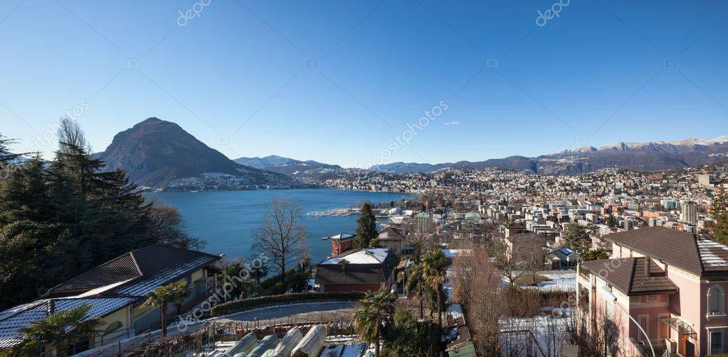Panoramic view of Lugano city