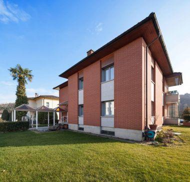 Architecture, garden of a brick house, outdoors stock vector