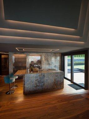 Interior of a luxury modern villa, kitchen