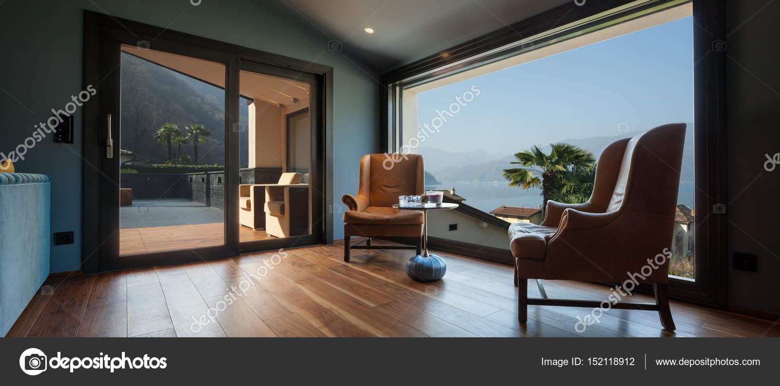 Interieur einer luxuriösen modernen Villa, Wohnzimmer ...