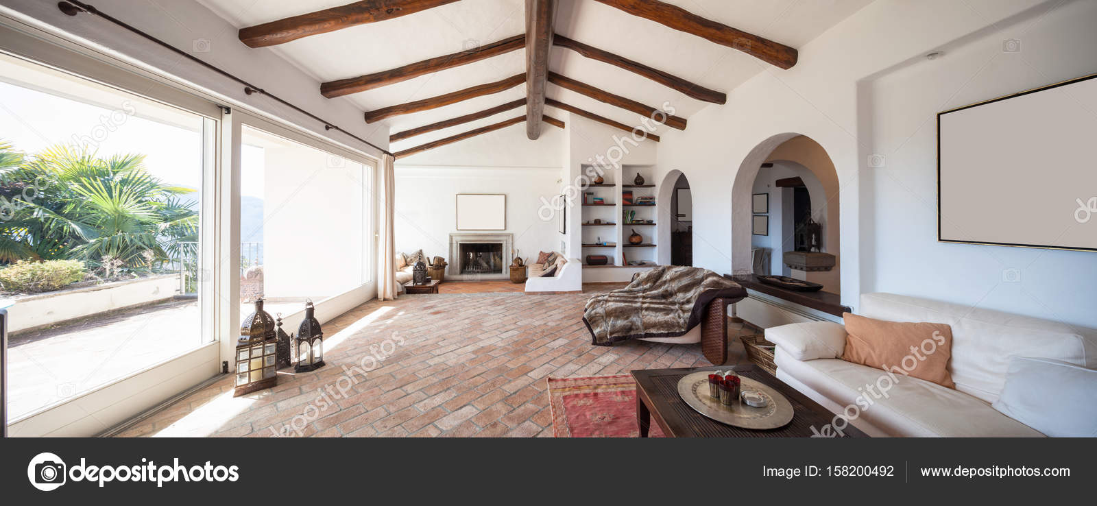Furnish living room with beautiful timber beams — Stock Photo ...