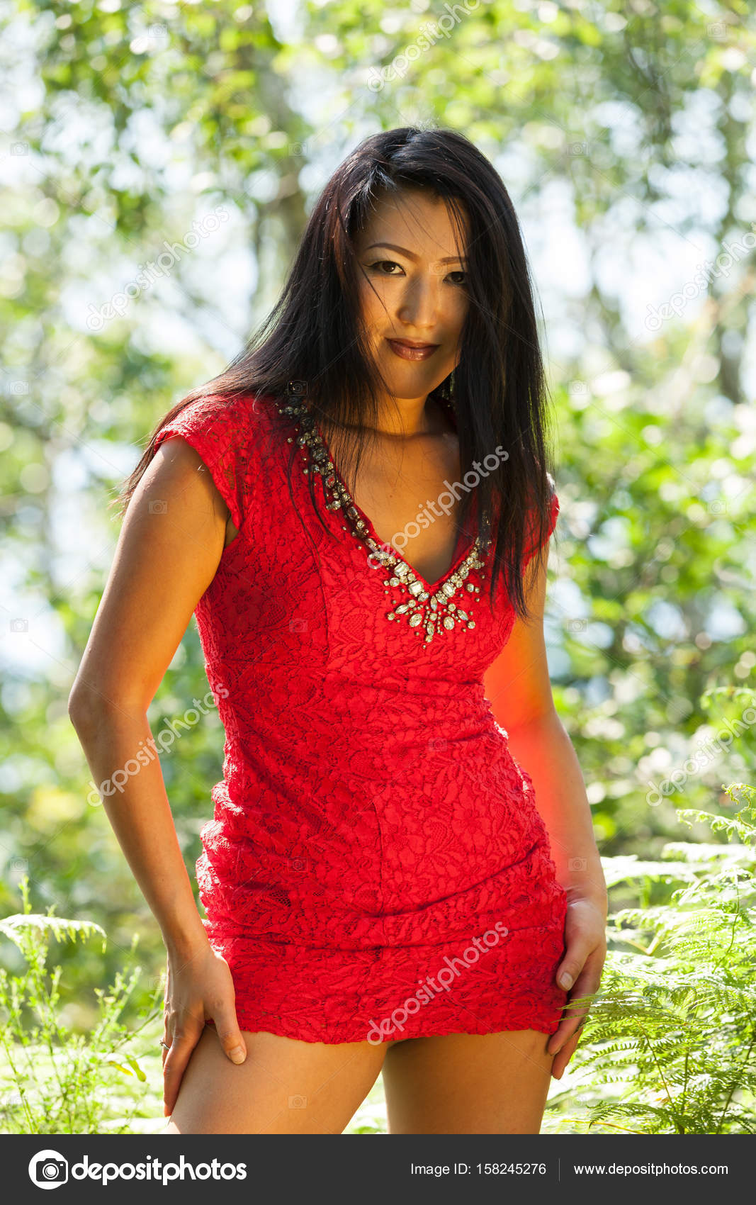 sexy asian woman with red dress — stock photo © zveiger #158245276