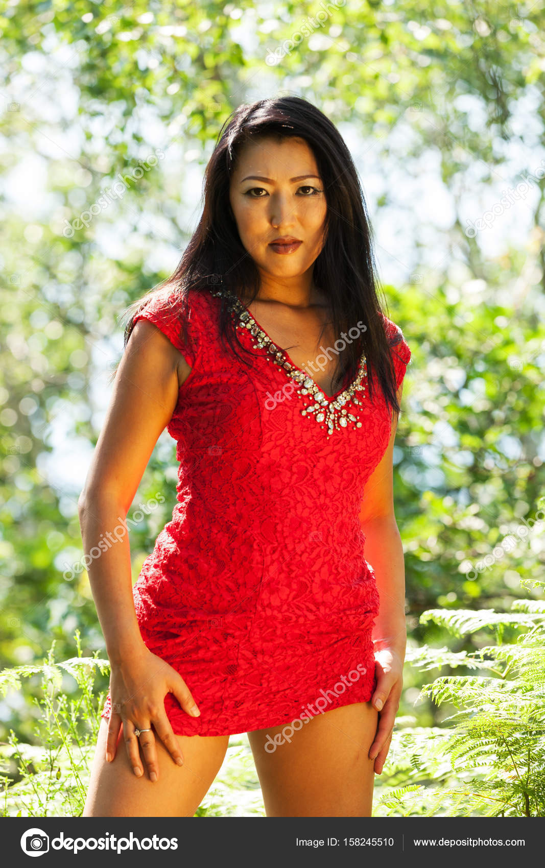 sexy asian woman with red dress — stock photo © zveiger #158245510