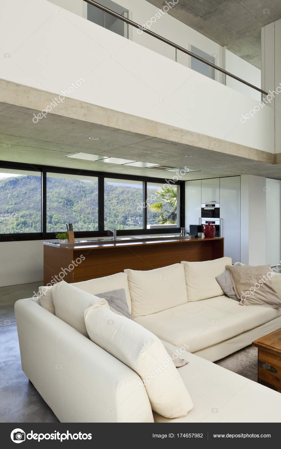 Schönes Modernes Haus Zement Interieur Wohnzimmer — Stockfoto ...