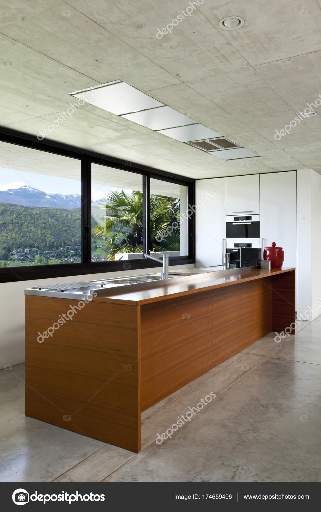 Fabelhaft Schöne Einrichtung Galerie Von Schönes Modernes Zement Hölzerne Kücheninsel — Stockfoto