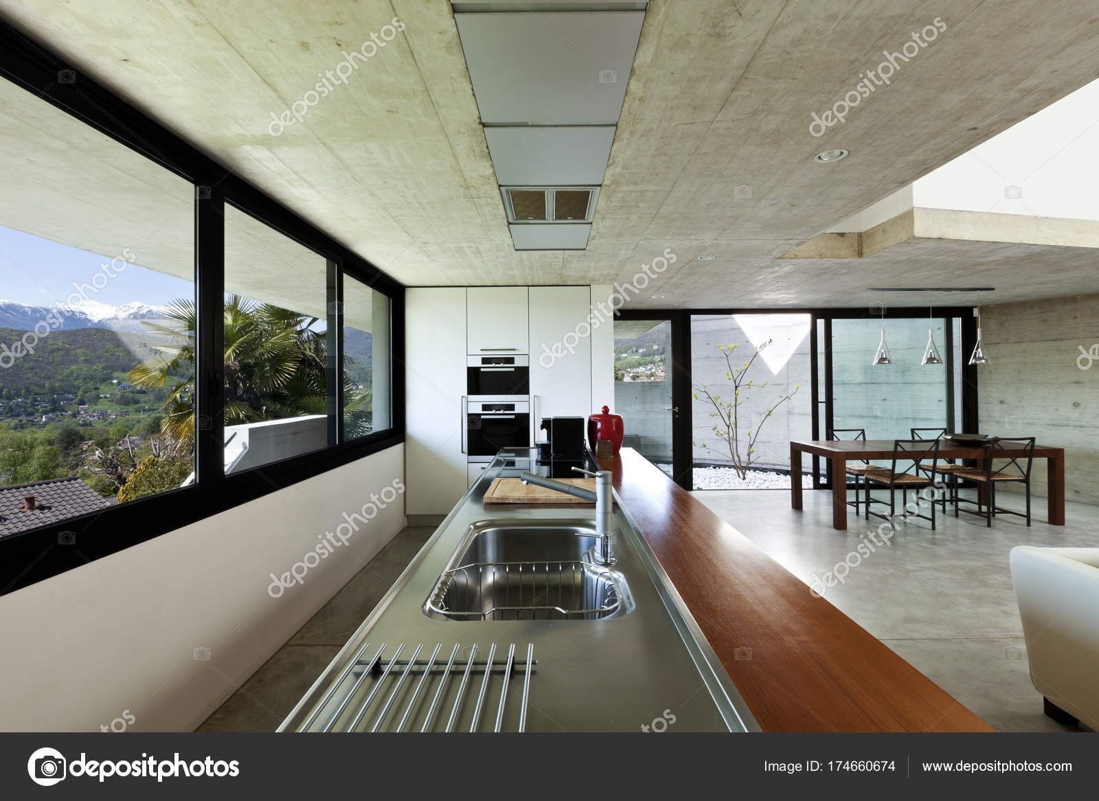 Schönes Modernes Haus Zement Interieur Freifläche — Stockfoto ...