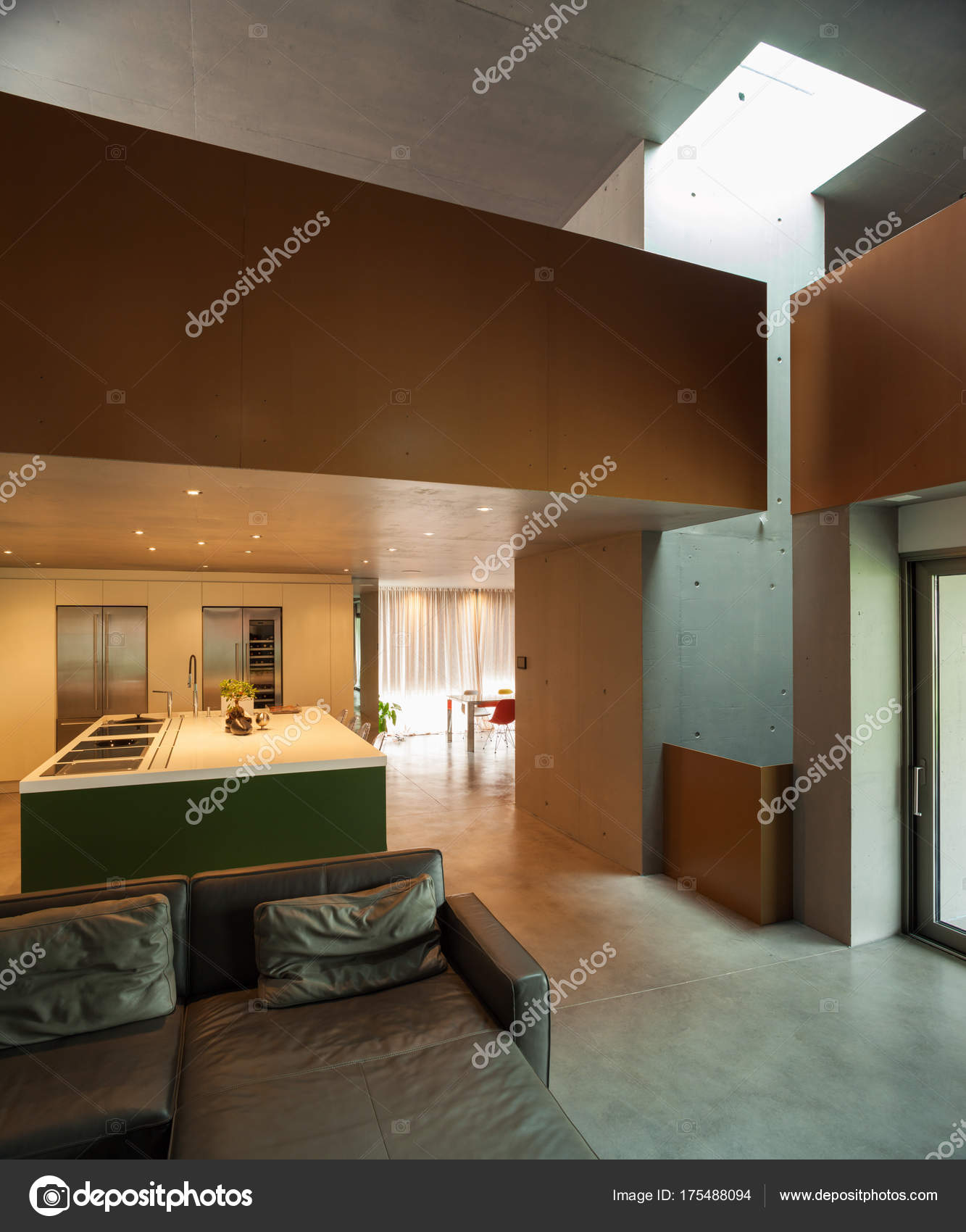 Beautiful modern house in cement interiors stock image