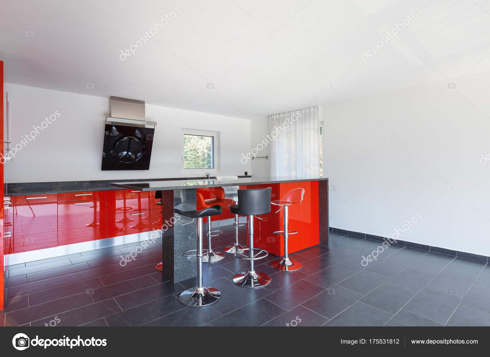 Cozinha Vazio Interior Casa Moderna Sala De Jantar Stock Photo
