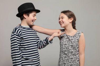 Two children in studio