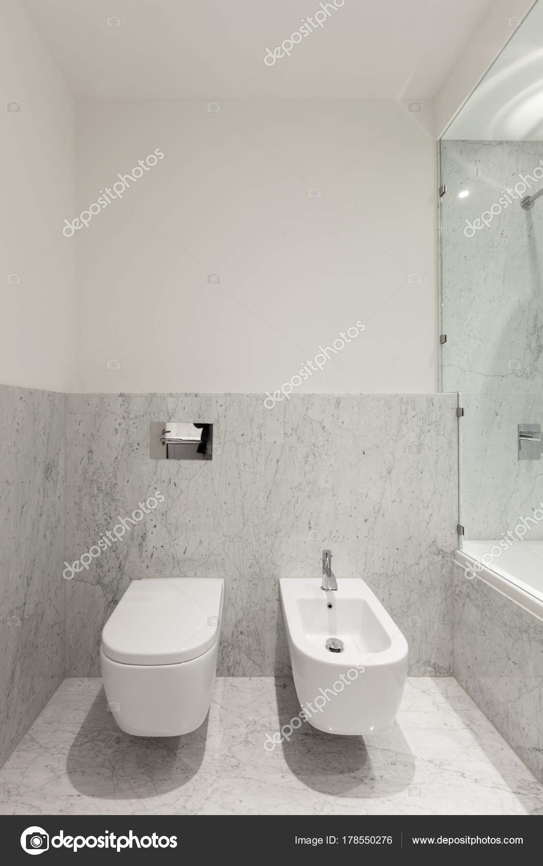 . Beautiful Modern Bathroom Marble Wall   Stock Photo   Zveiger  178550276