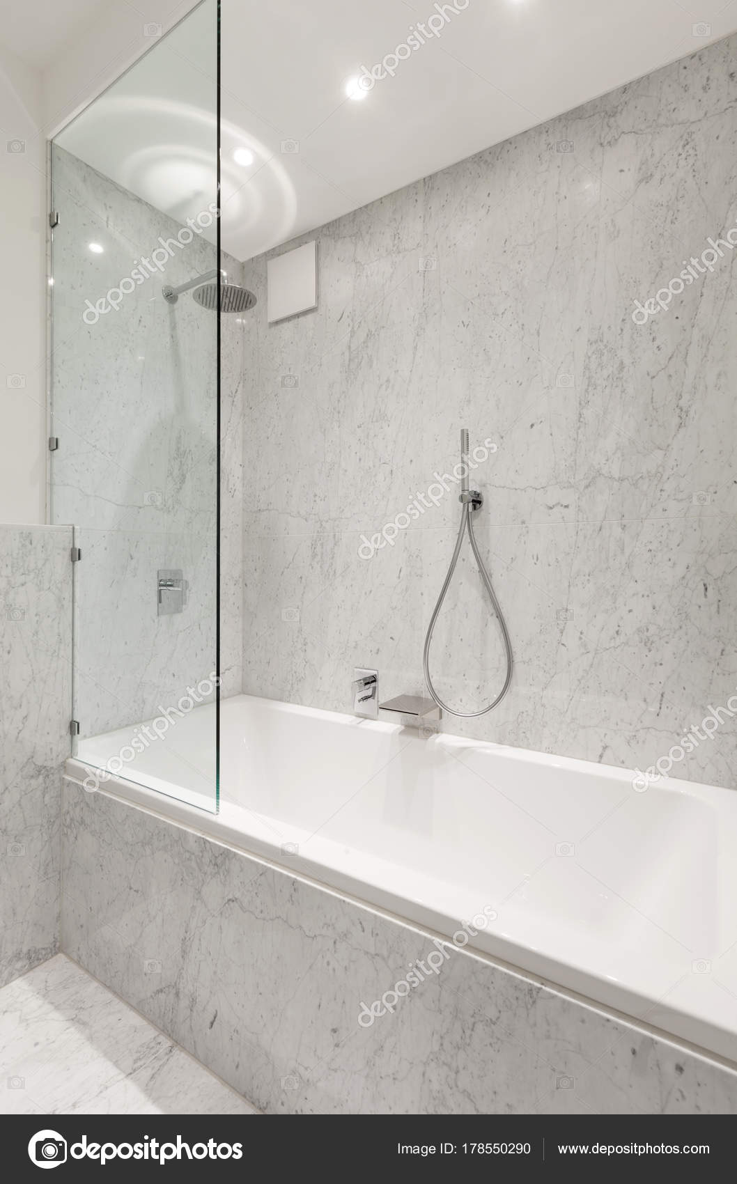 . Beautiful Modern Bathroom Marble Wall   Stock Photo   Zveiger  178550290