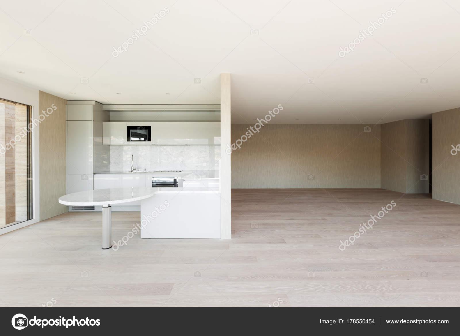 Apartamento Vacío Del Piso Madera Cocina Moderna — Foto de stock ...