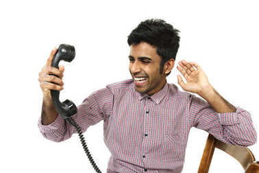 young man portrait with vintage telephone