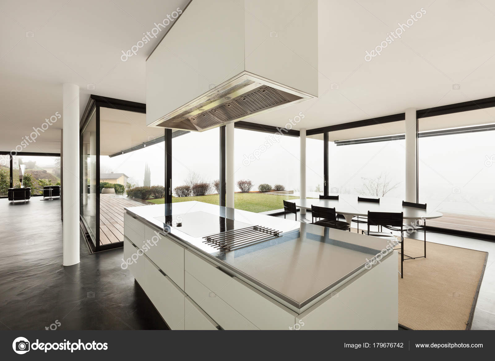 Architecture beautiful interior of a modern house stock image