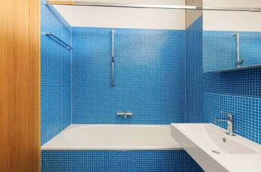 architecture modern design, interior, blue bathroom