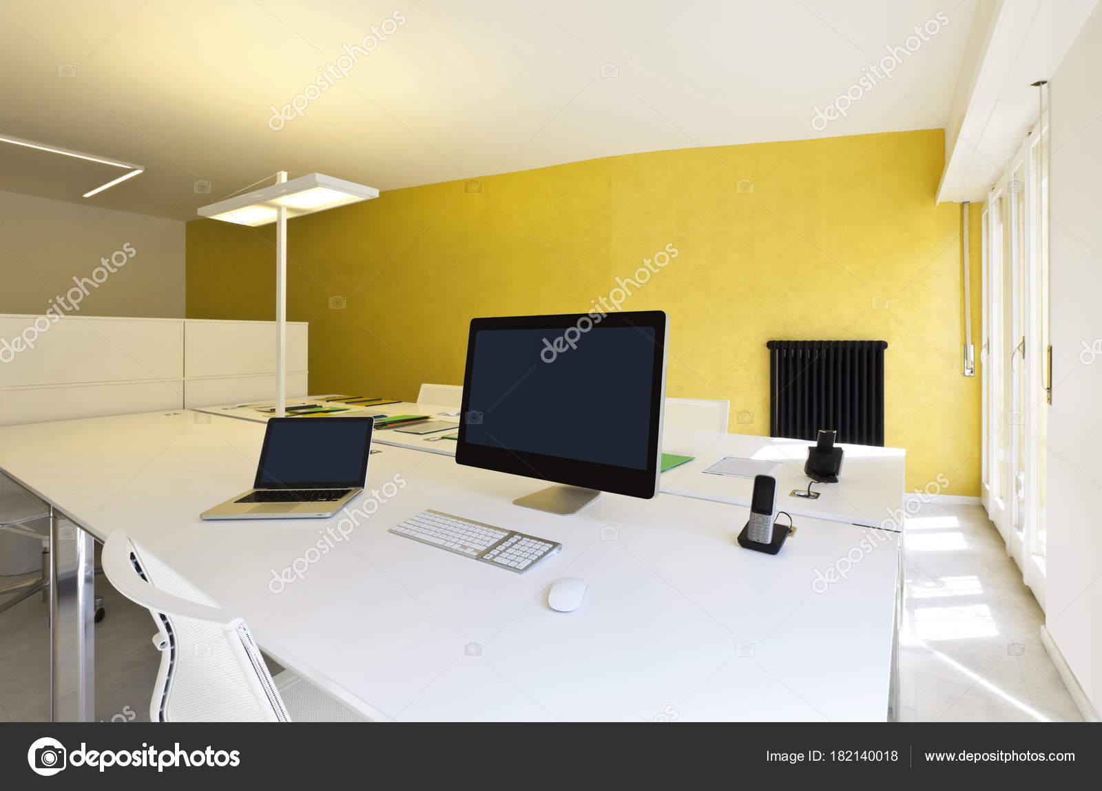 Modern Office Interior Design Workplace Computers Stock Photo