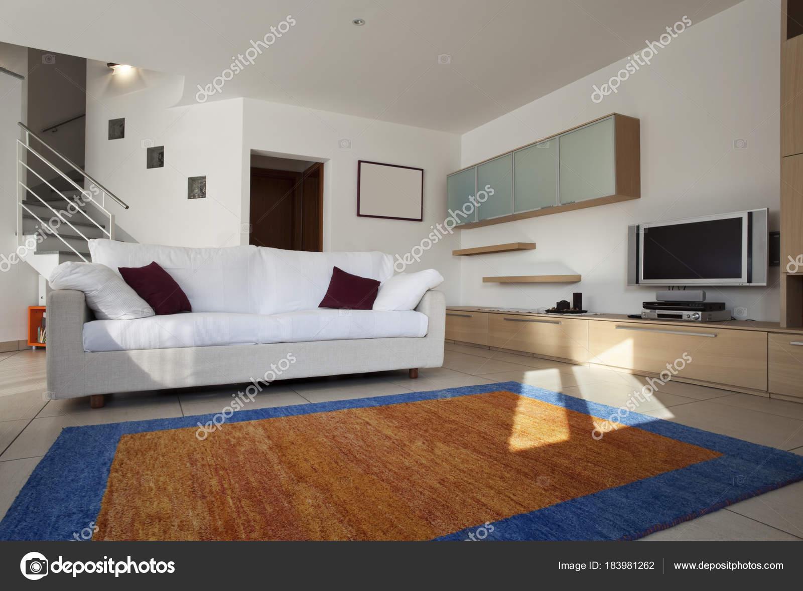 Tappeti Soggiorno Moderno : Soggiorno interno moderno e arredato con divano e tappeto u foto