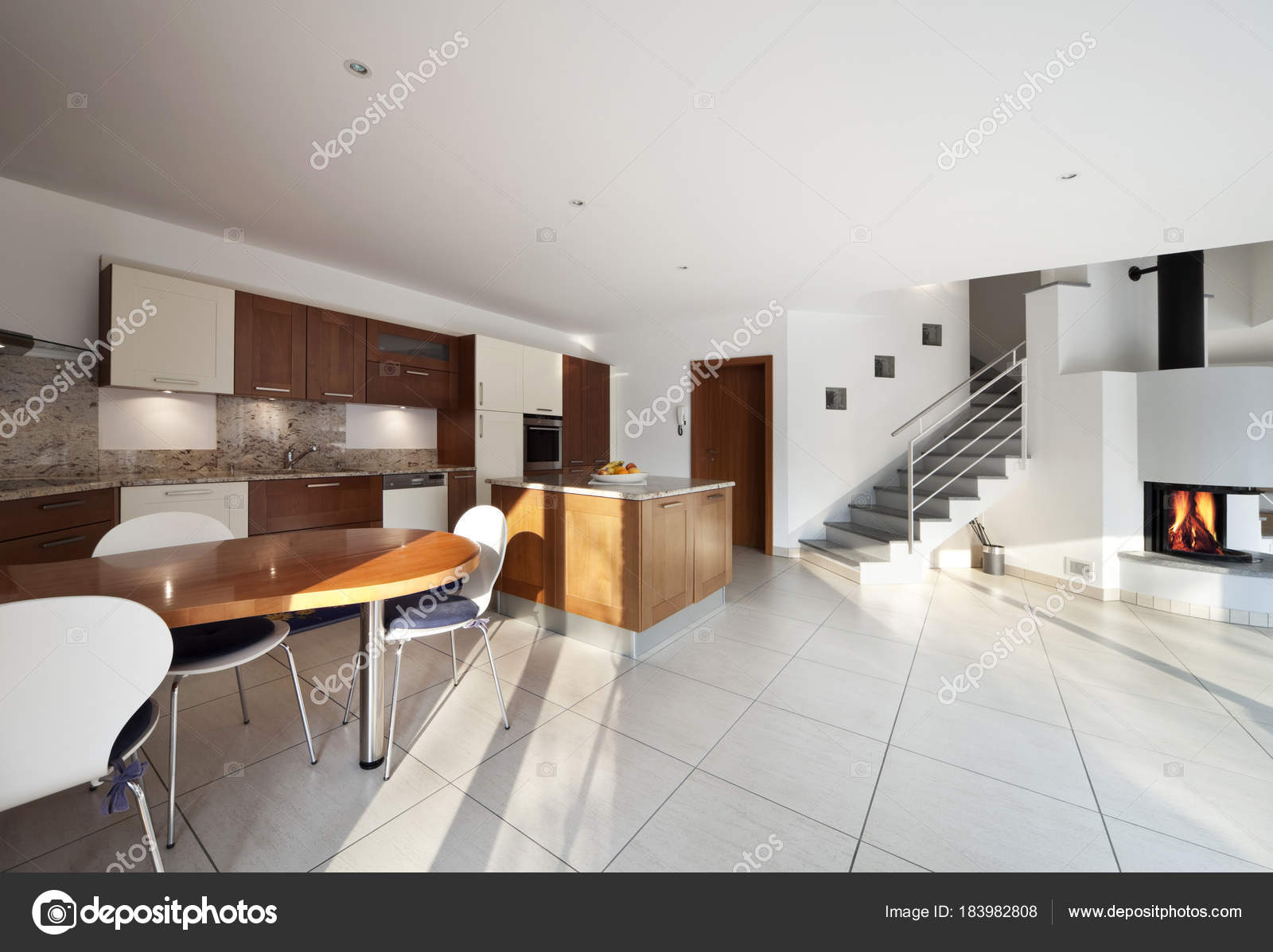 soggiorno, cucina, Sala da pranzo e ampio moderno spazio aperto ...