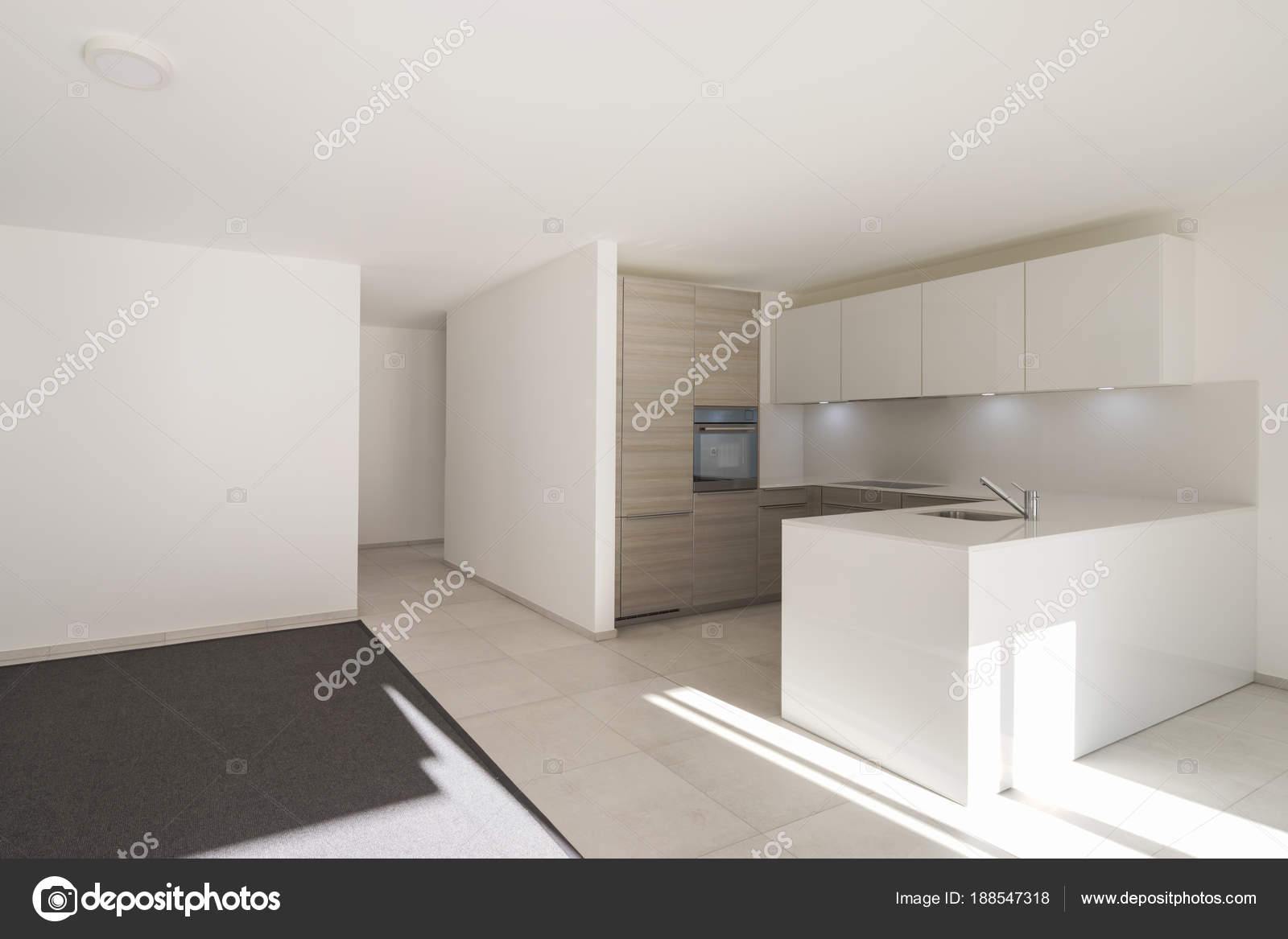 Modern open space with living room and kitchen — Stock Photo ...