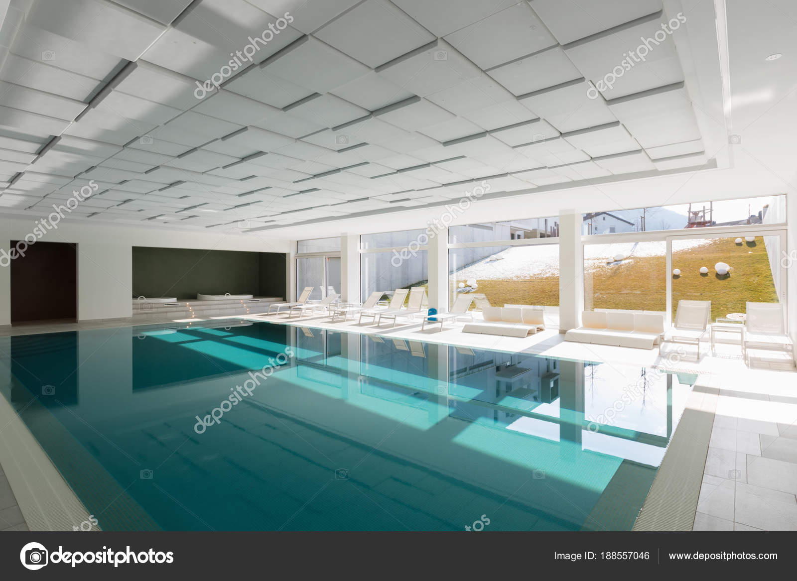 Covered swimming pool in a private residence — Stock Photo © Zveiger ...